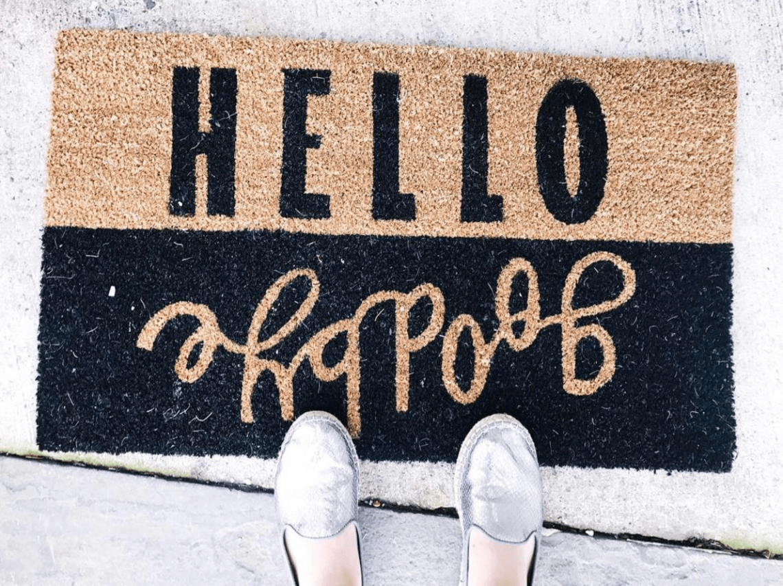 A New Doormat For Spring: Hello Goodbye