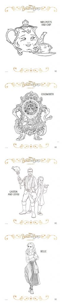 Beauty and The Beast coloring sheets printable