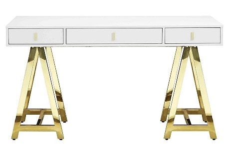 Gold Office Desk Idea: Gold Riley Desk