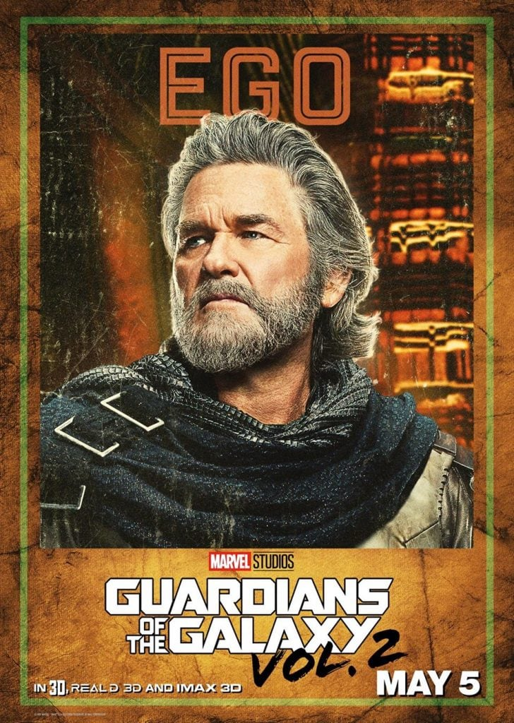 Kurt Russell plays EGO in the Guardians of the Galaxy Vol 2 movie