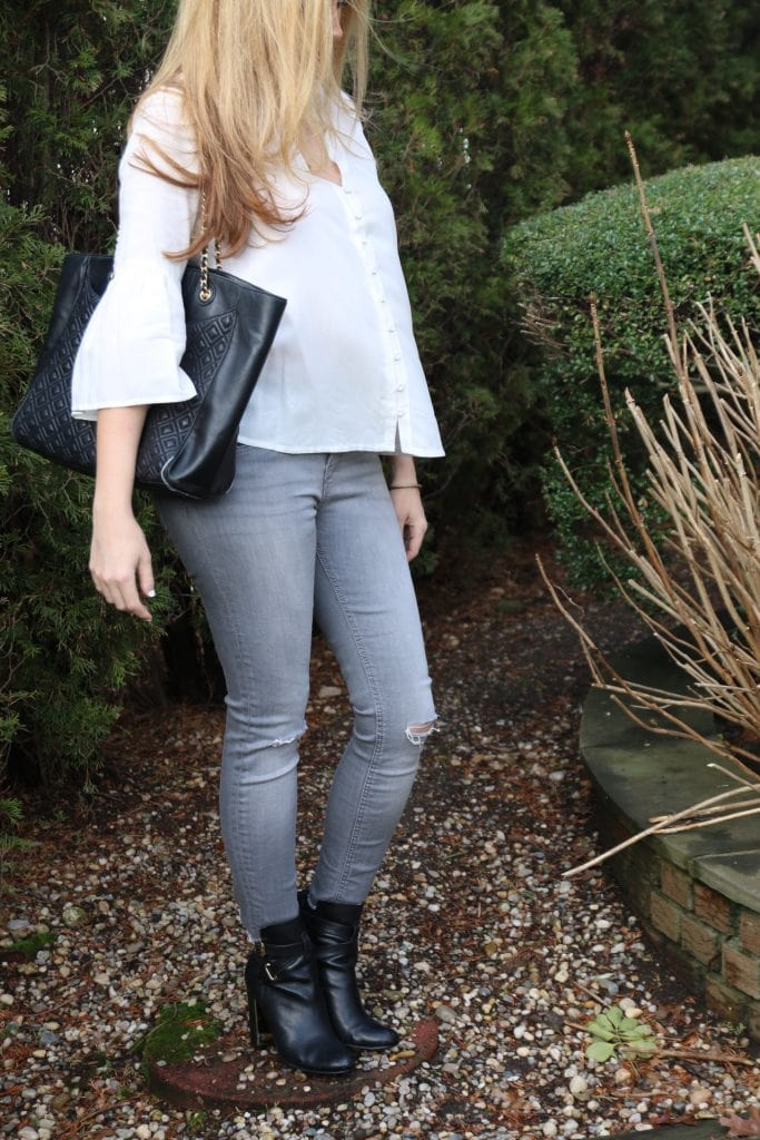 zara blouse and jeans