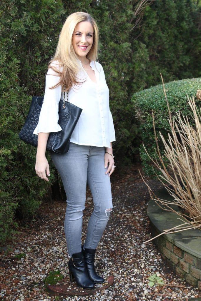 simple look gray zara blouse