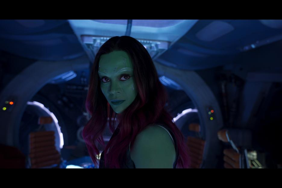Zoe Saldana playing Gamora a scene from Guardians of the Galaxy Vol 2 movie.
