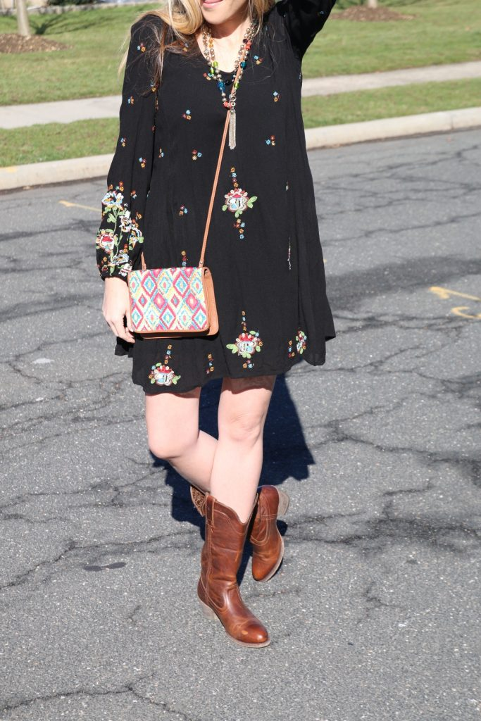 This Target purse gives the perfect hobo vibe to this embroidered minidress look