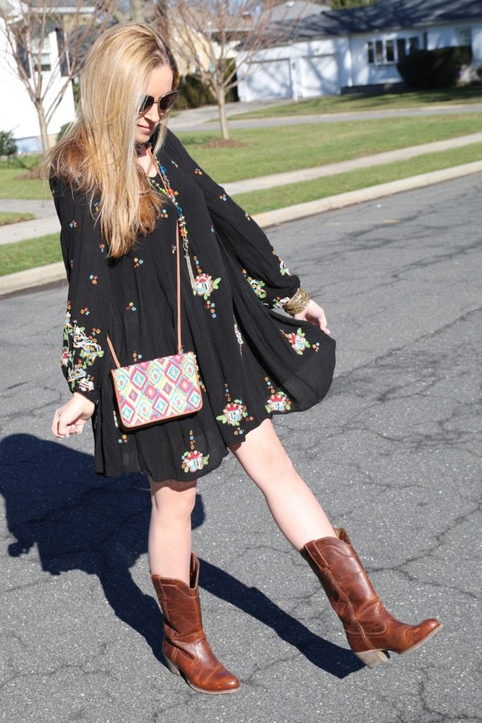 boots compliment this Free People Embroidered Minidress