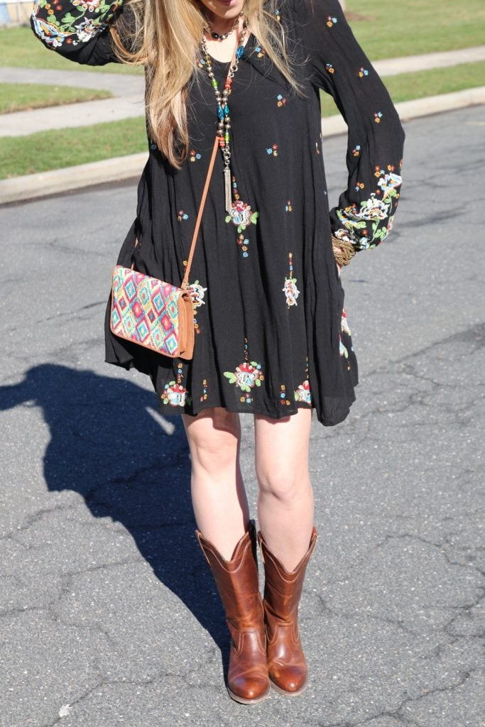 Free People Embroidered Minidress and cowboy boots
