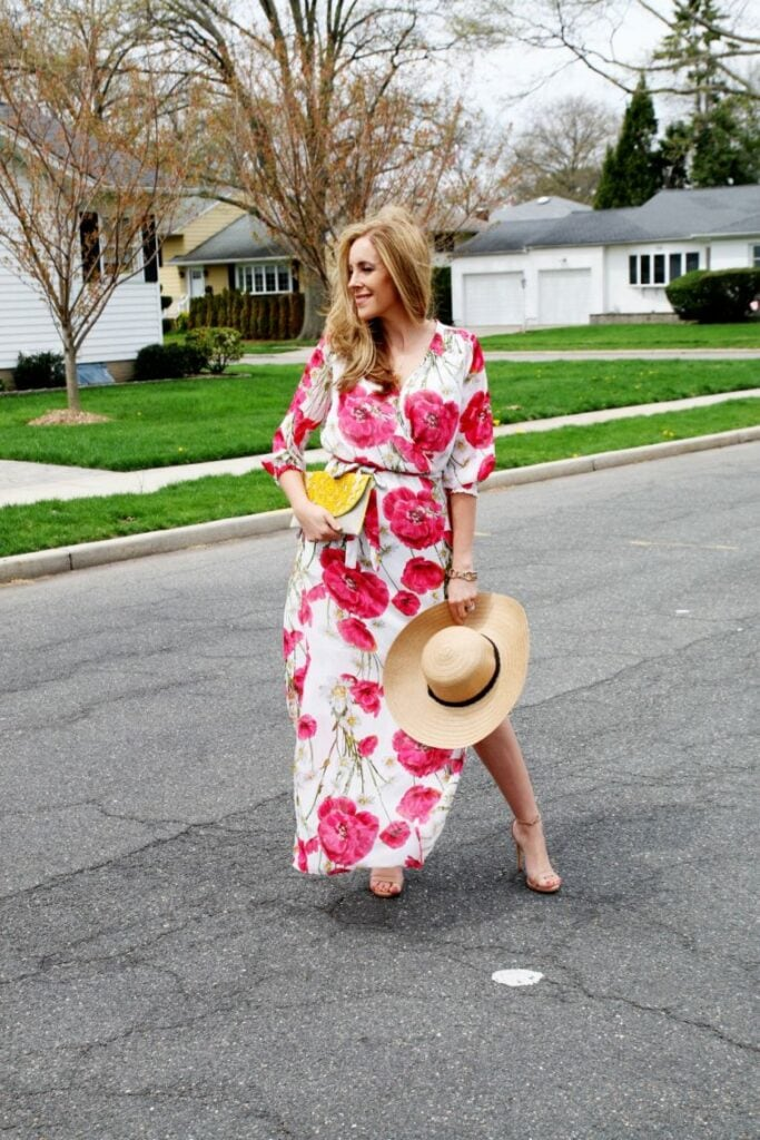 Poppy Print Wrap Maxi Dress