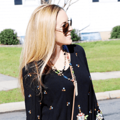 Free People Embroidered Minidress: What She Wore #50DressesForSpring