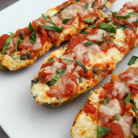 Zucchini Recipes: Stuffed Spinach Lasagna Zucchini Boats