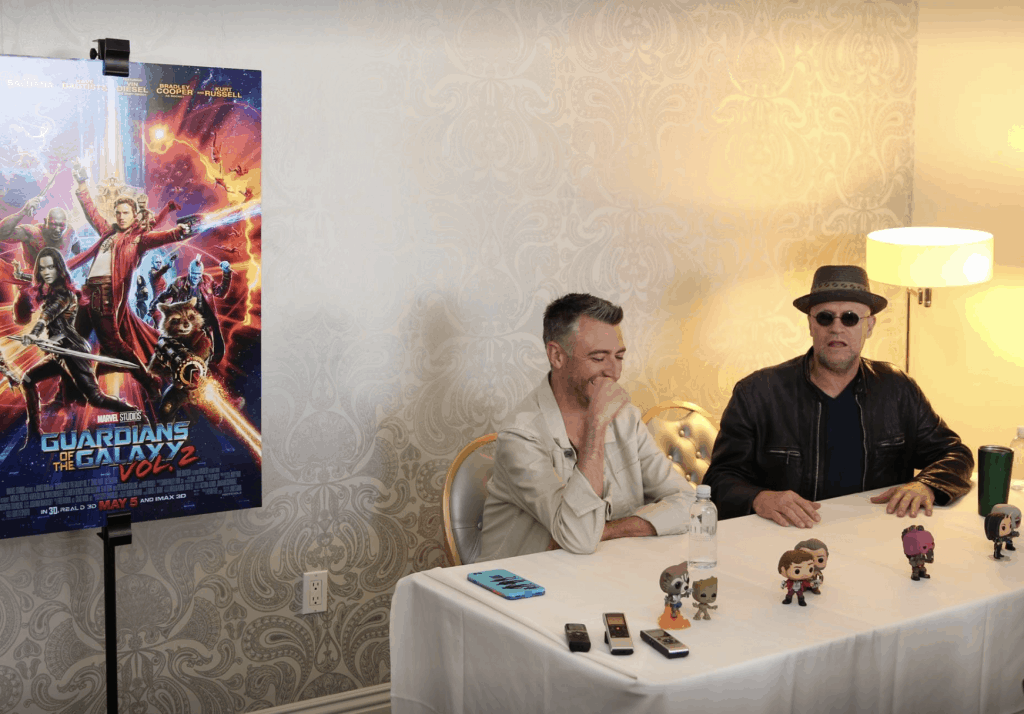 Sean Gunn and Michael Rooker from Guardians Of The Galaxy Vol. 2