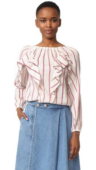 ruffled striped shirt