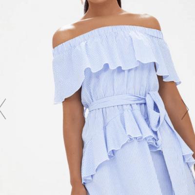 Blue Striped Bardot Ruffle Detail Tie Dress