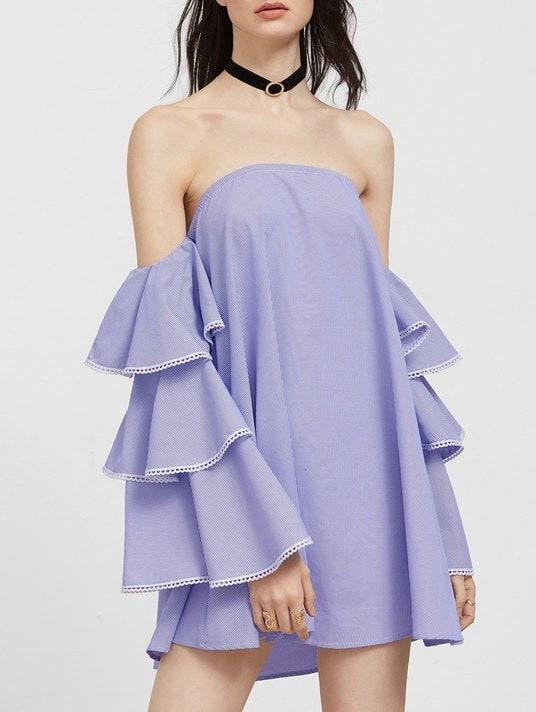 Off The Shoulder Flounce Lace Trim Dress - Show Off Your Shoulders