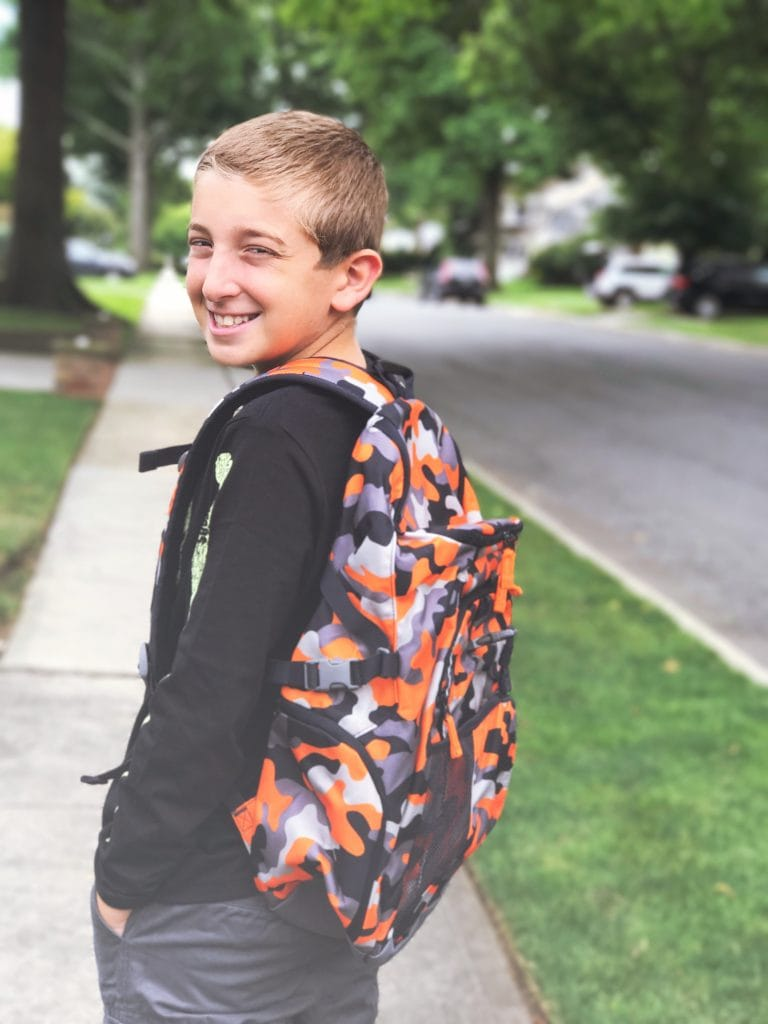 Land's ENd backpack - boy walking to school