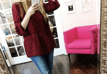 Gingham Shirred-Sleeve Top