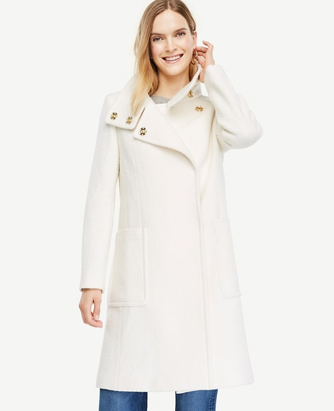 Ann Taylor Boucle Funnel Neck Coat