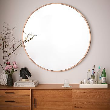 Metal Framed Oversized Round, Mirror, Rose Gold: Today's Obsession