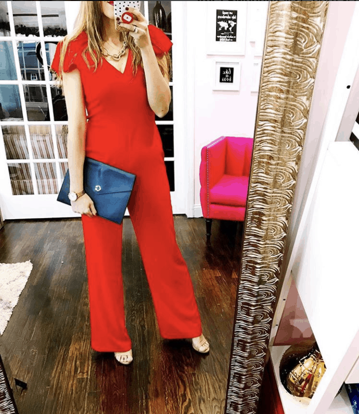 Charles Henry Ruffle Sleeve Jumpsuit: What She Wore