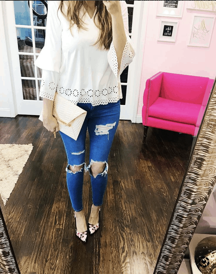 V-Cut Neck Scalloped Laser Cut Top: Today's Obsession