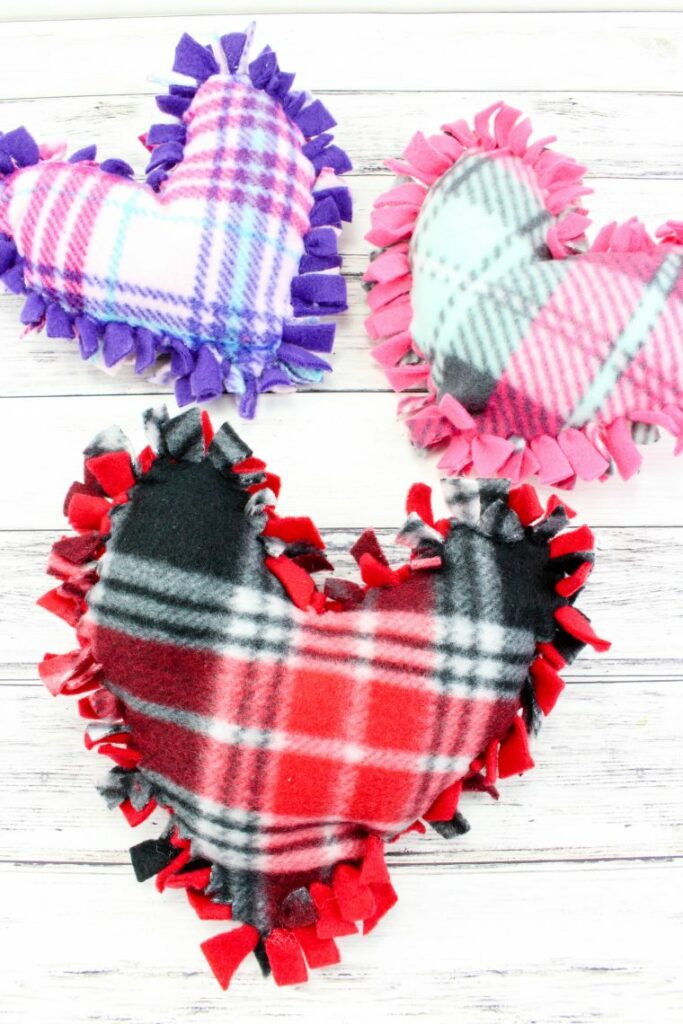 no sew valentine's day heart pillows - multiple colors
