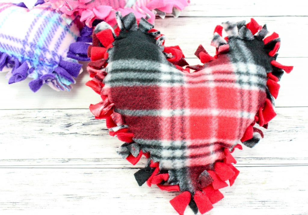 no sew valentine's day heart pillows completed