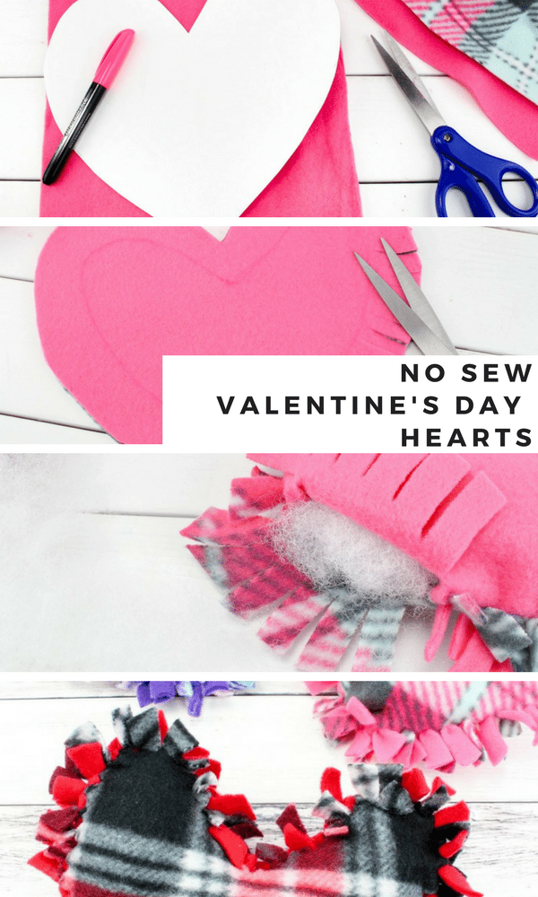 no sew valentine's day heart pillows