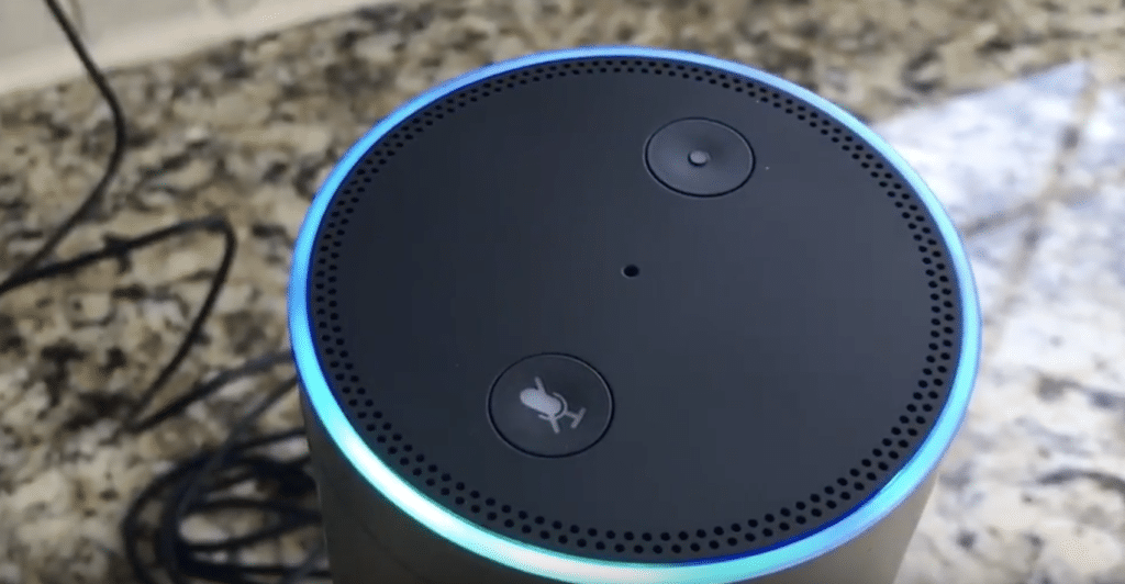 close up of Amazon Echo Plus in kitchen