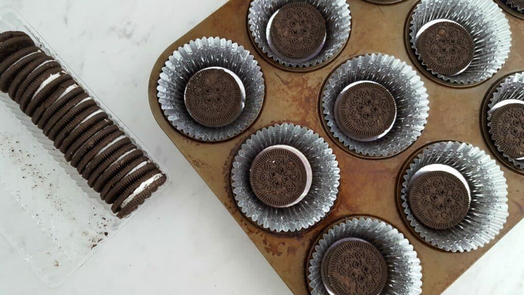 oreos in a cupcake pan