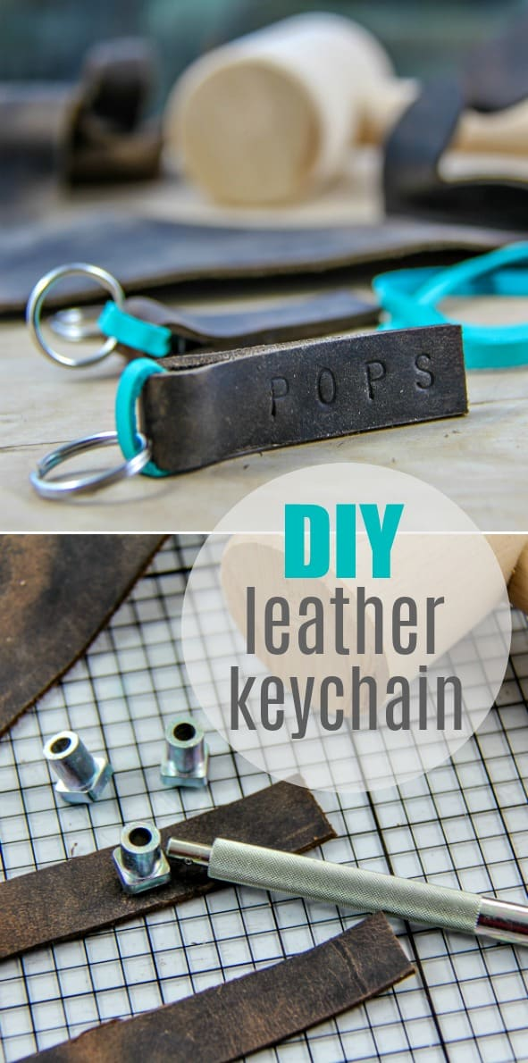 DIY Father's Day Gift - Handmade Leather Keychain for Dad