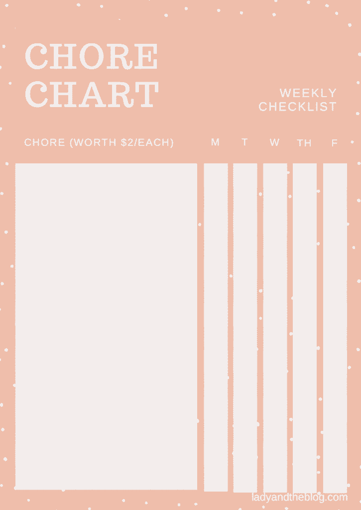 Chore chart weekly checklist