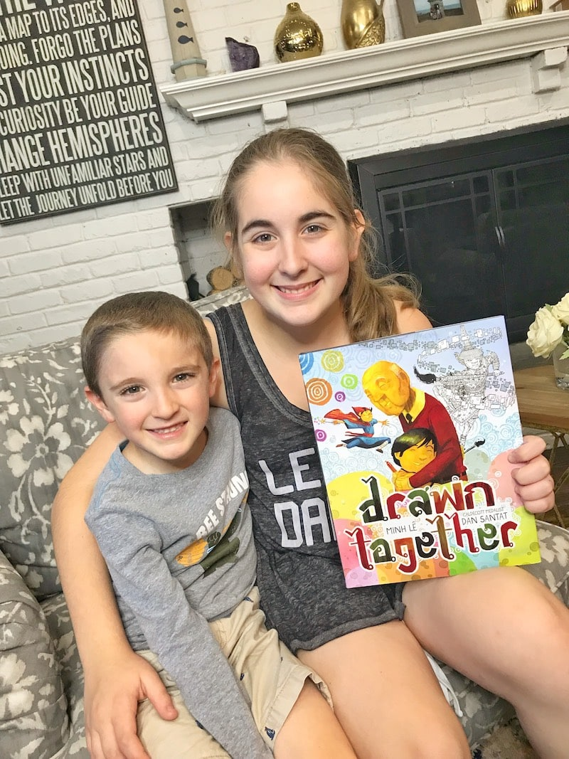 Drawn Together children's book cover with kids