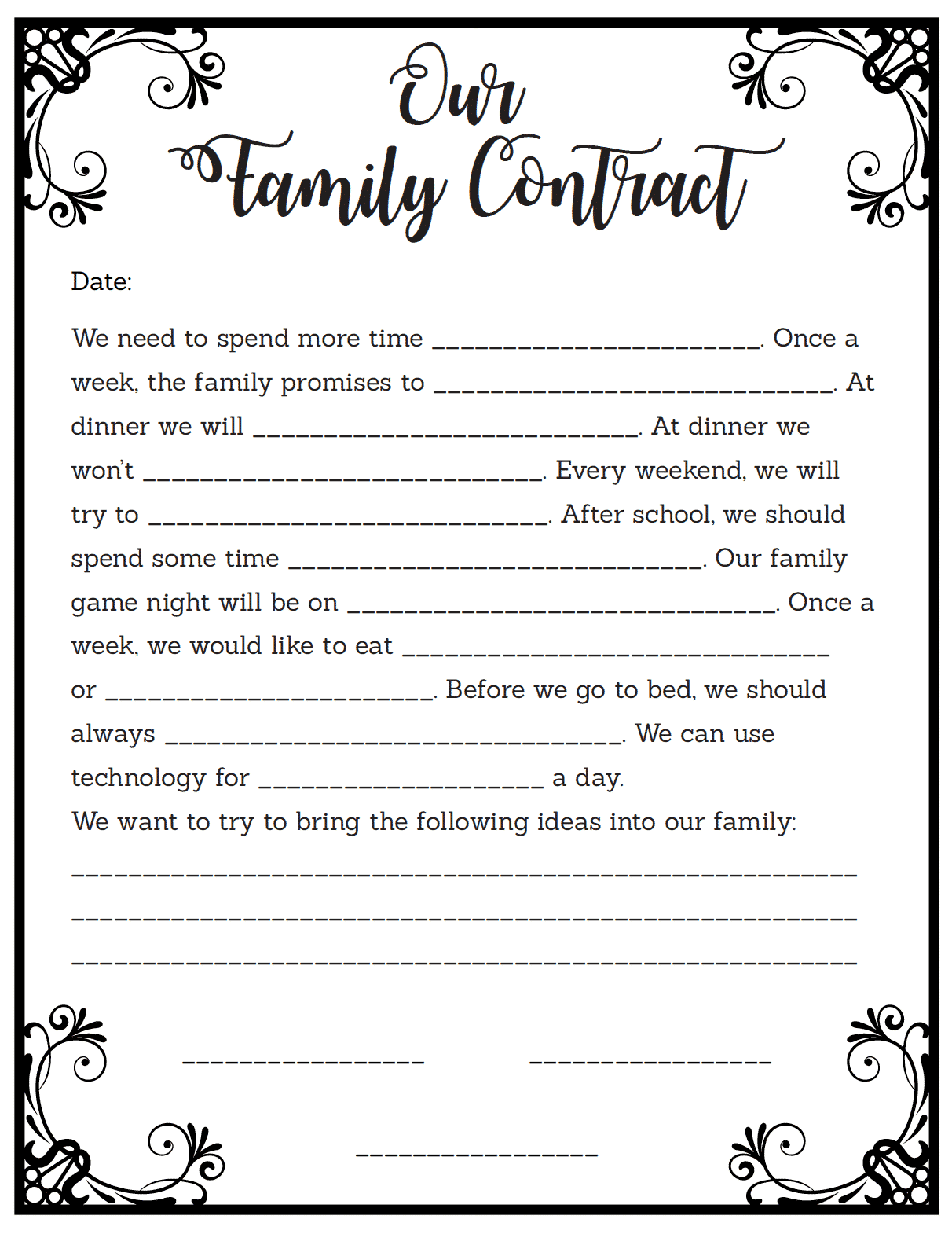 Family Contract For Kids