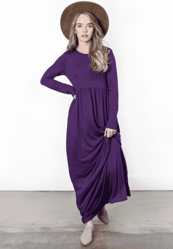 chic trendy dress - purple and long