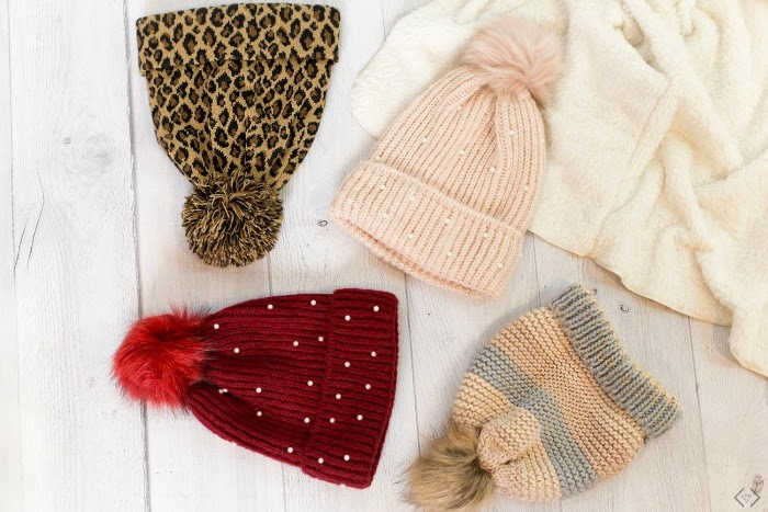 pom pom hat with variety of colors