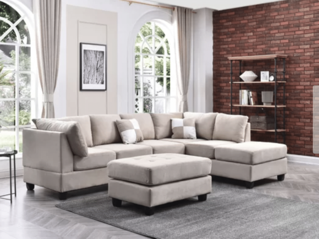 Beige Sectional Couch White