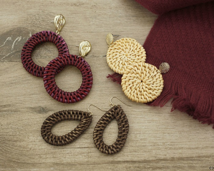 maroon and brown colored earrings - woven style