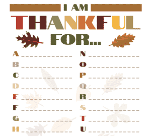 Things To Be Thankful For - Thanksgiving Activity Sheet