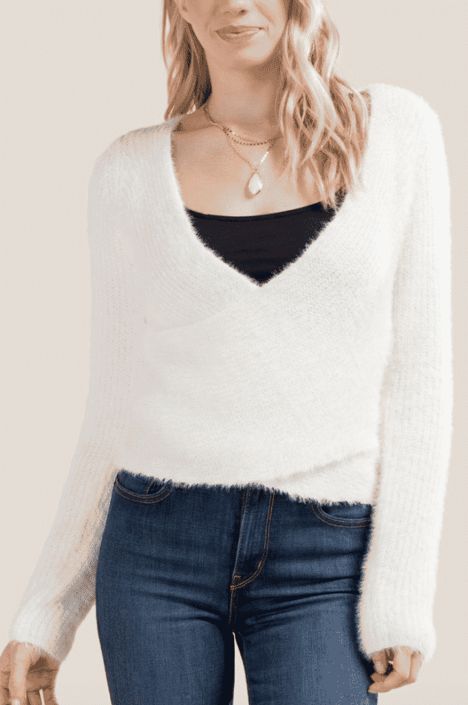 wrapped ivory sweater