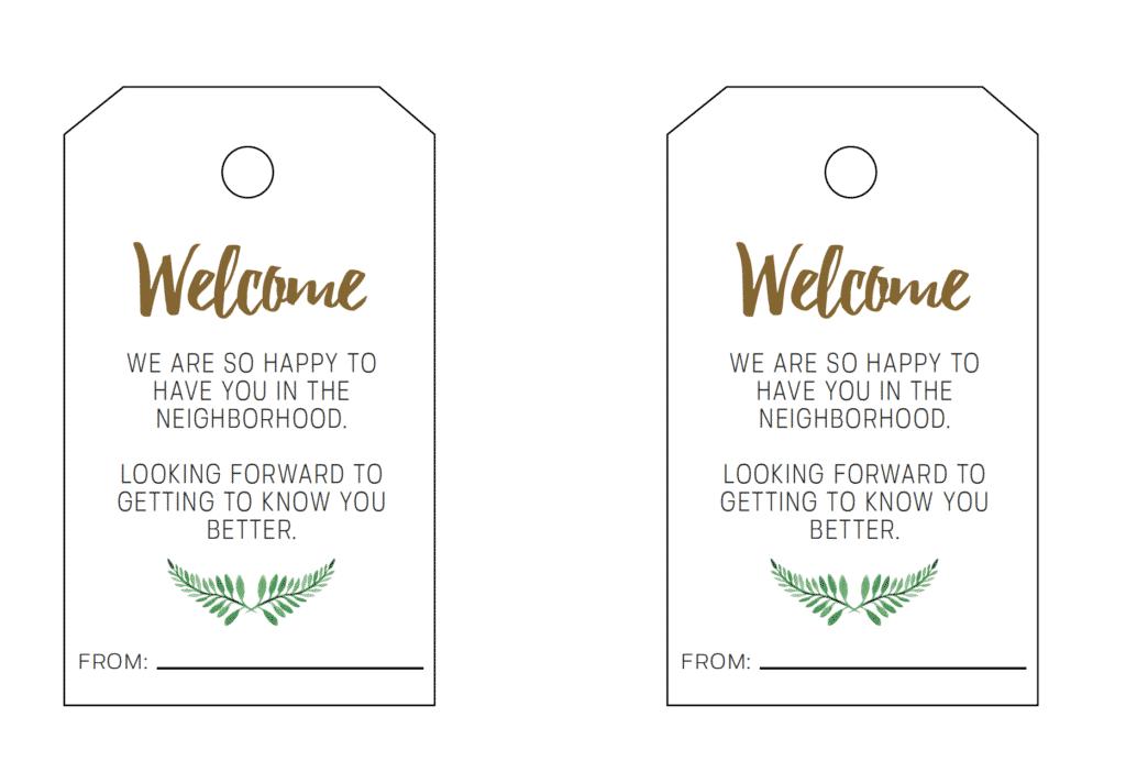 New Neighbor Gift Tag Printable - Welcome To The Neighborhood Download