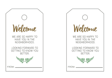 New Neighbor Gift Tag Printable - Welcome To The Neighborhood Download