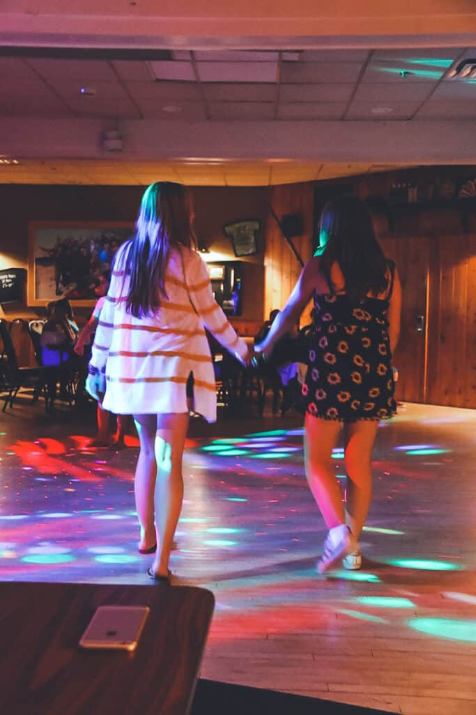 Woodloch Pines dance party at night teens