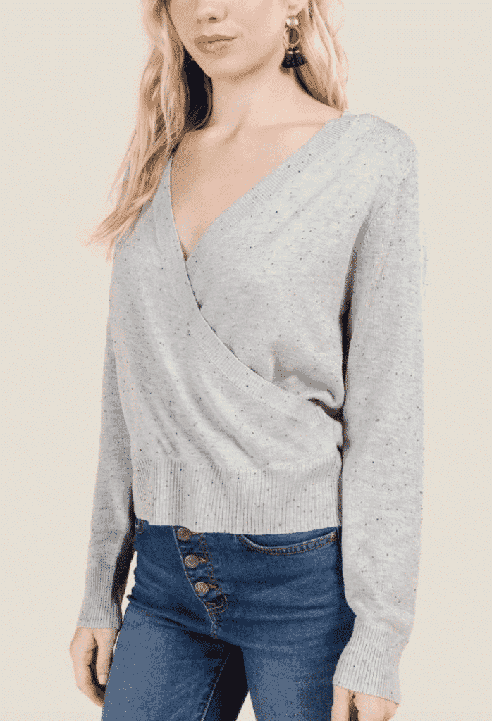 wrapped sweater - grey