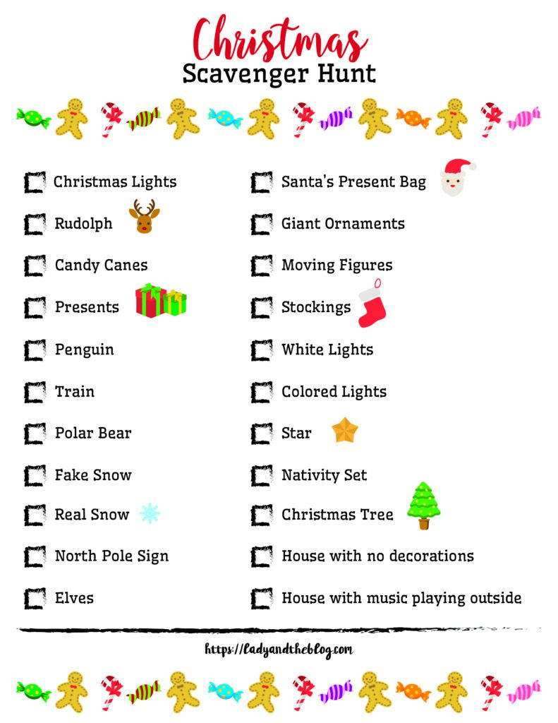 Christmas Scavenger Hunt Ideas - Free Printable