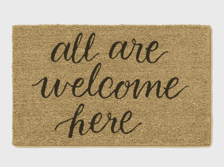 All Are Welcome Here Tufted Doormat Black