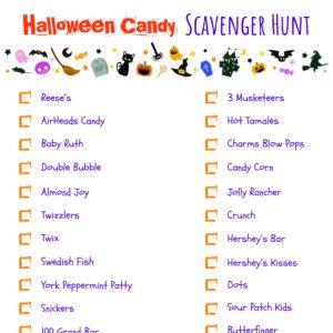 Halloween Scavenger Hunt Printable - Halloween Candy List
