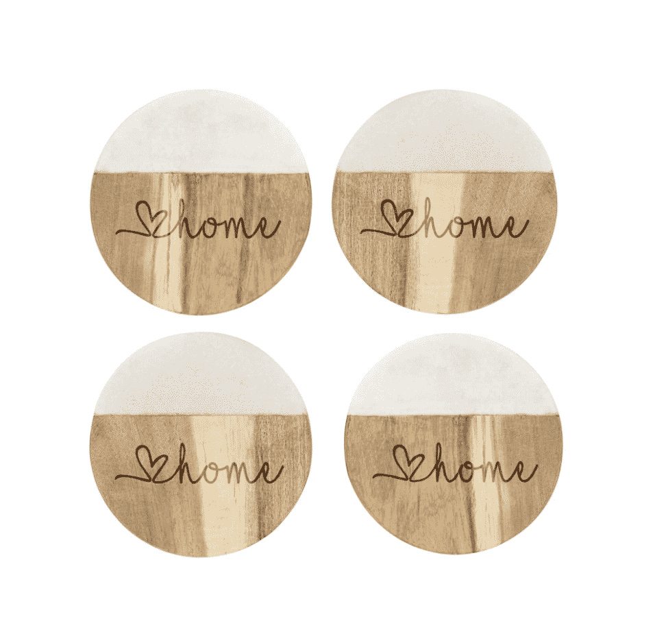Love Home Set of 4 Marble & Acacia Wood Coasters
