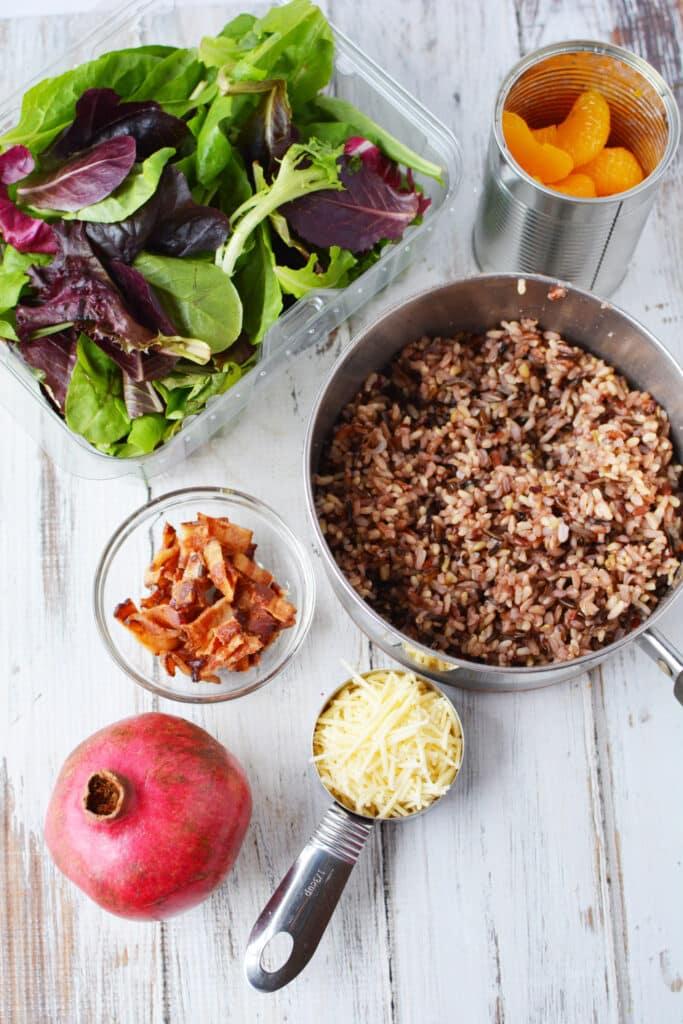 pomegranate rice salad with bacon