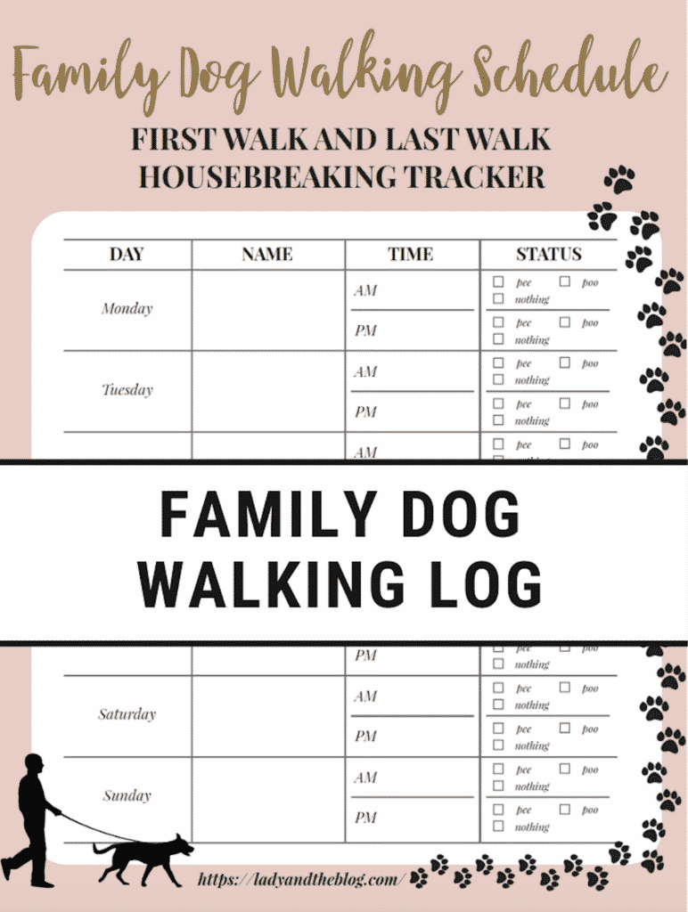 Family Dog Walking Schedule Tracker Free Printable