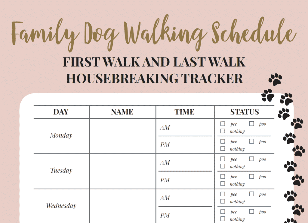 Free Printable Walking The Dog Log - How To Set A Schedule And Develop A Routine