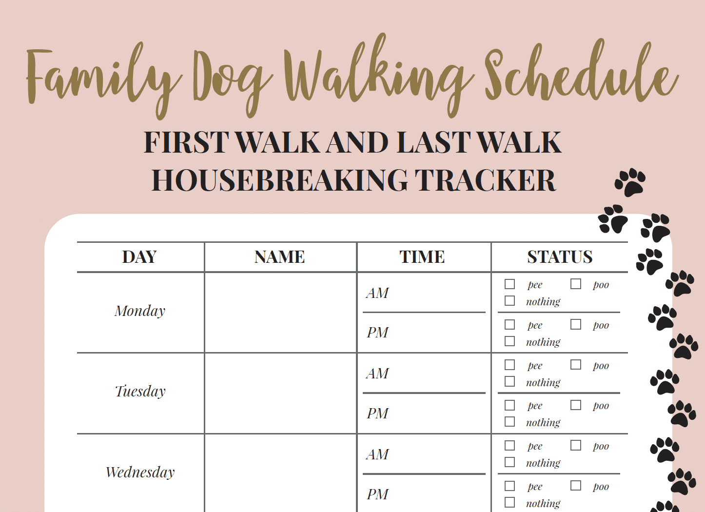 free printable walking the dog log